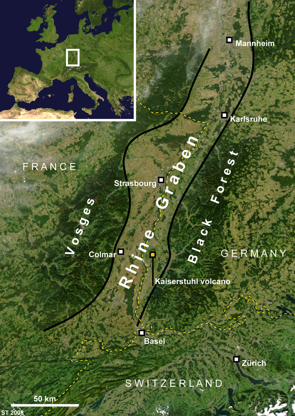 The Valley of the Rhine situated between France's Vosges Mountains and Germany's Black Forest; Alsace is the area in this valley on France's side of the border; Graphic courtesy of Wikimedia.