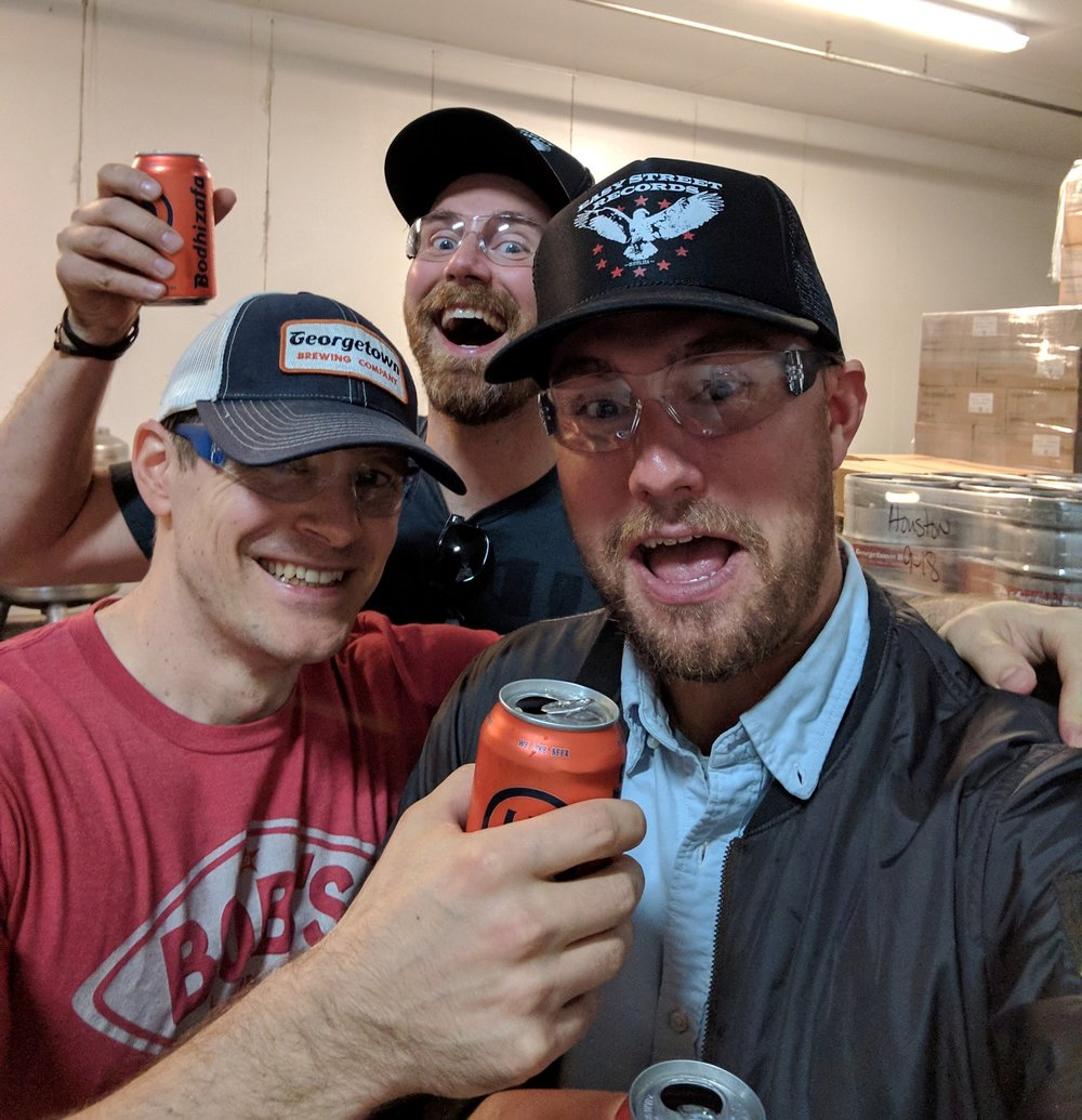 At Georgetown's brewery; Nothing Could Go Wrong For Us On This Day -- For $12, you too can purchase the black trucker hat I'm wearing at Easy Street Records, just like Eddie!