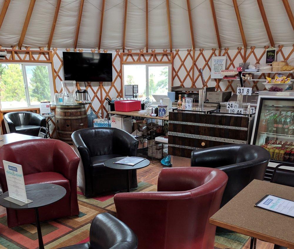 Inside the yurt tasting room.