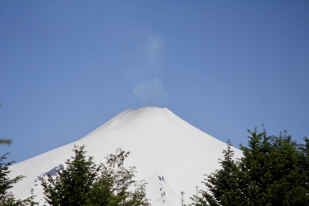 You can barely see the sulfuric gas escaping out the top of the active volcano