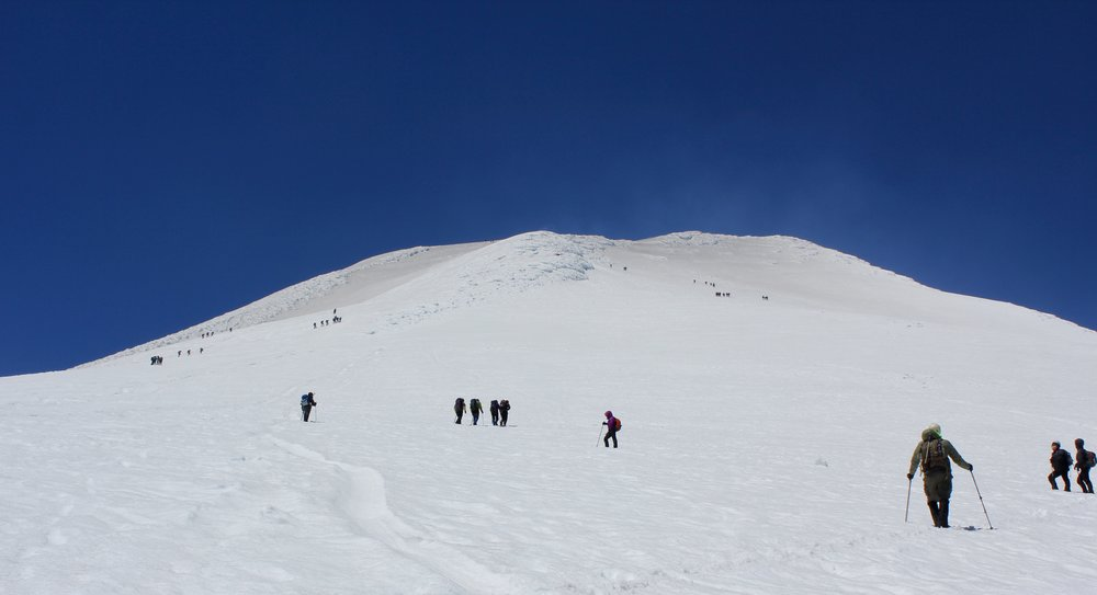 Looking up to the false summit - 2,800 meters
