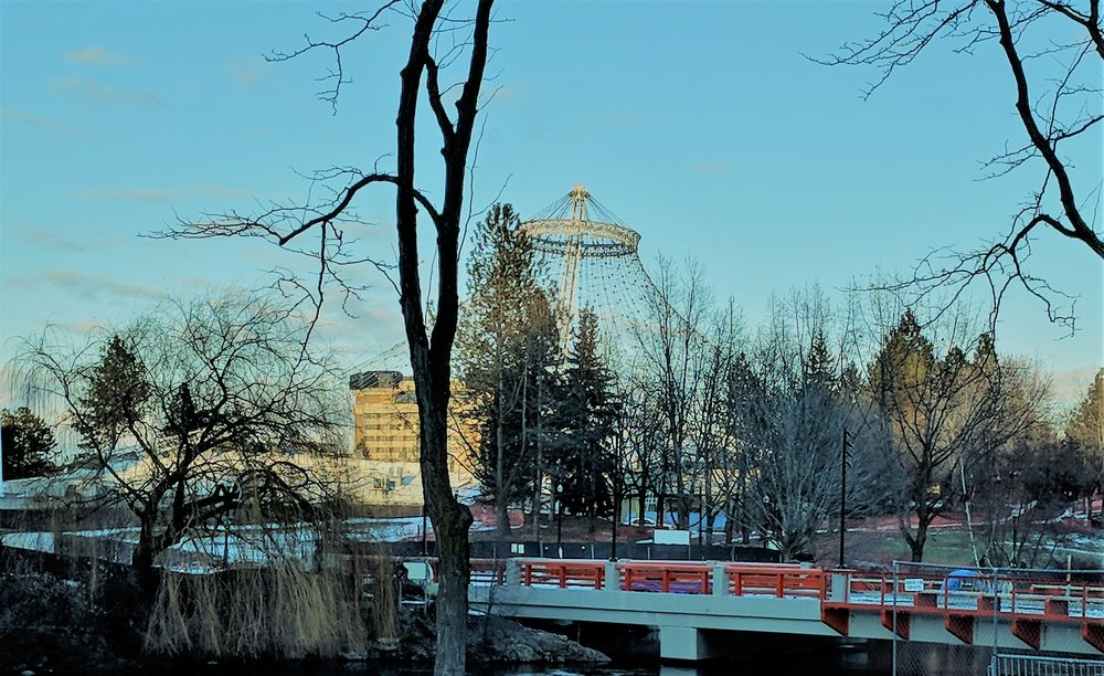 The iconic Pavillion at Riverfront Park as viewed from the ice ribbon. The Pavillion was constructed for the 1974 World Expo held in Spokane.
