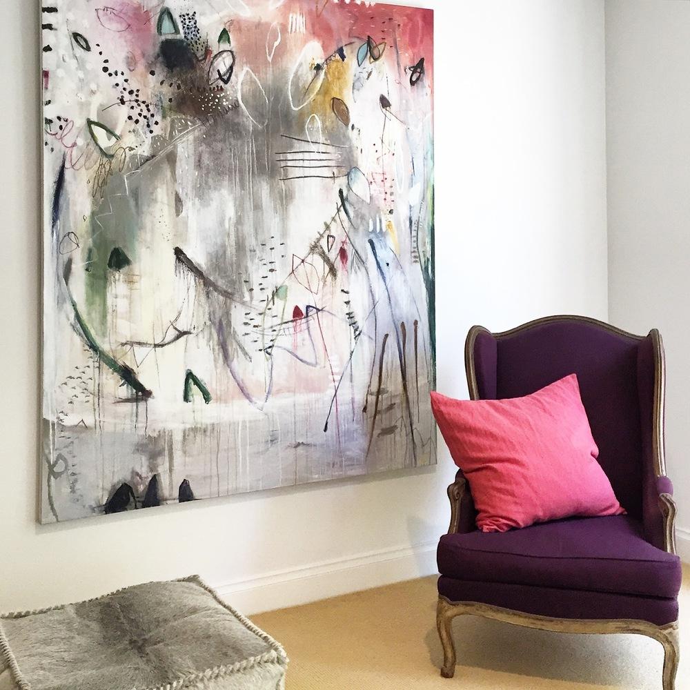 Above:  Michelle Breton ,  Champignons et Chouquettes , 2015, Acrylic on Linen, 183 x 152cm, P.O.A