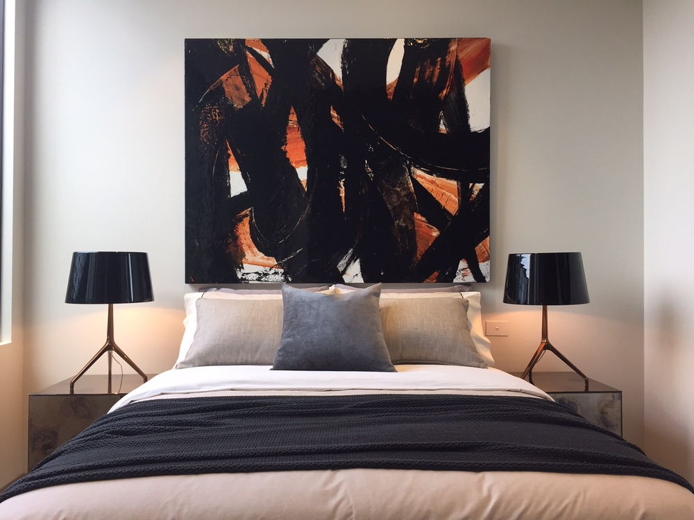 Above:  Cesar Corregio, Tourmente sur la lagune, 122 x 152cm, Synthetic Polymer Paint on Canvas, P.O.A  Styling by  Lisa Gole Interiors .