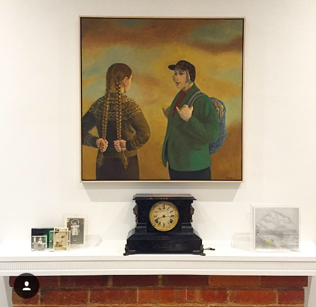 A grouping of family photographs, my grandparents clock, a wedding gift to them c.1918 sits next to a perspex work by Melbourne artist, Saffron Newey, After Durer - all below a Graeme Drendel oil painting entitled, The Thin Air of Desire.