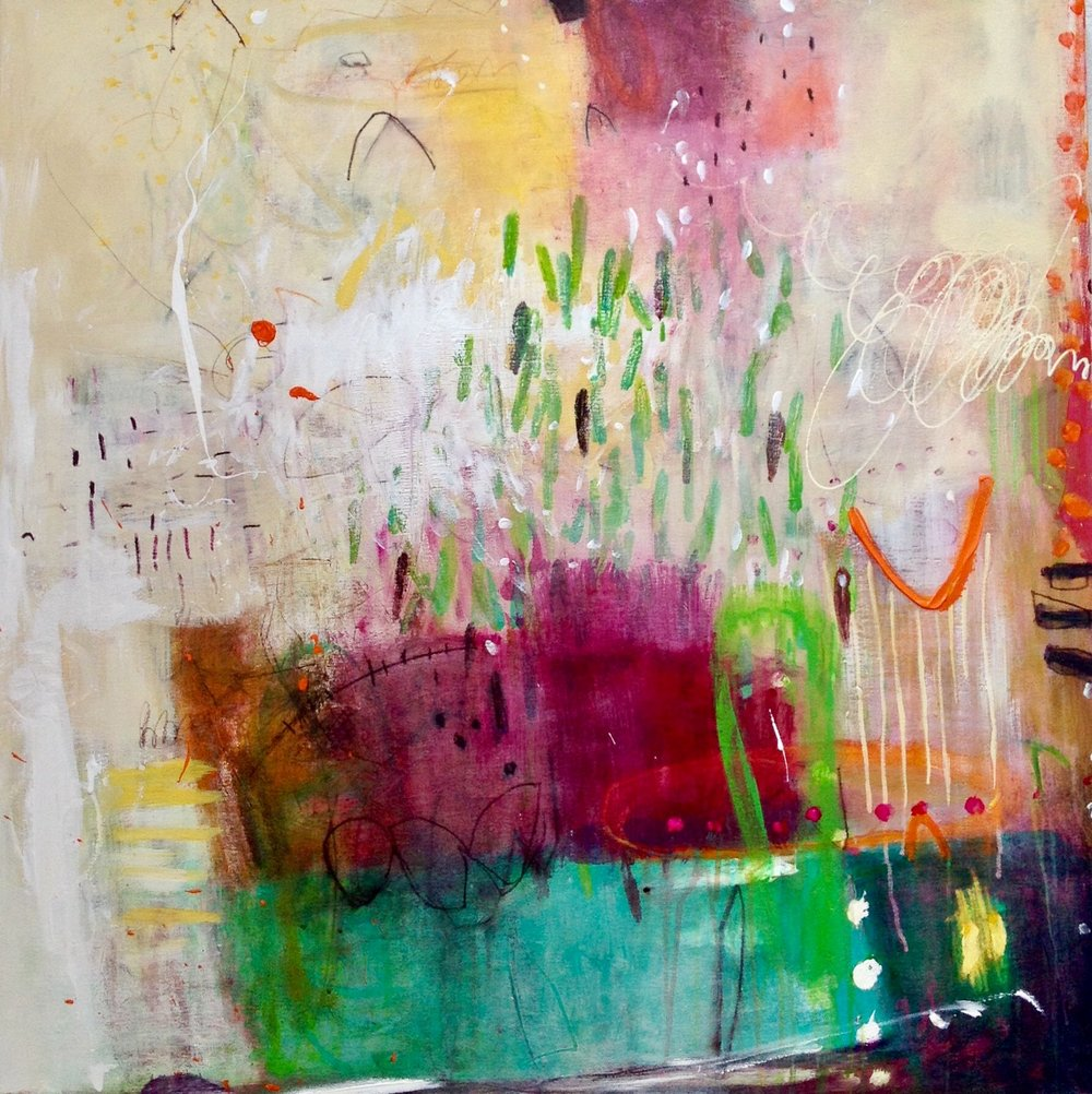 Coming Home,  Mixed Media on Italian Canvas, 91 x 91cm.
