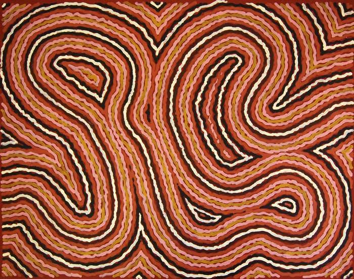 Clifford Possum Tjapaltjarri, Narripi Worm Dreaming, ADG:845, 1997, 125 x 96cm.