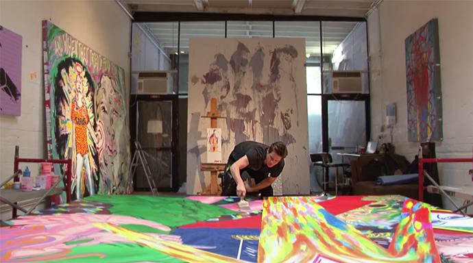 Above: Jim Carrey in his studio.