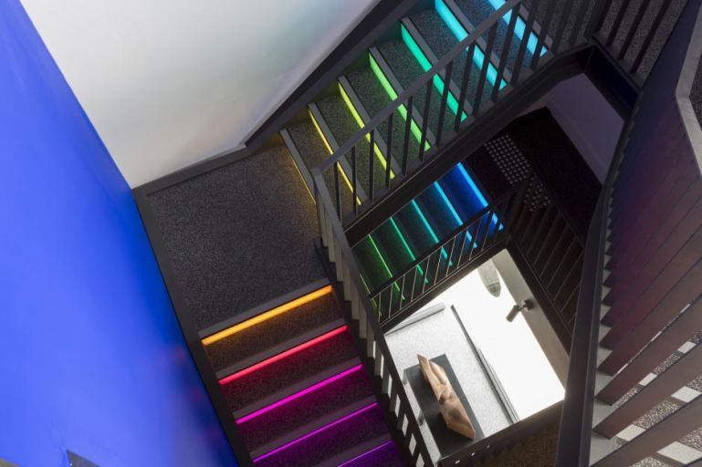 Above:   Ilan El  has created an illuminated stair over 3 flights comprising  '39 steps' . The 4 colour LED lighting to the steps will be interactively activated by the visitors walking up and down the stairs, making the colour and pattern combinations will be unlimited.
