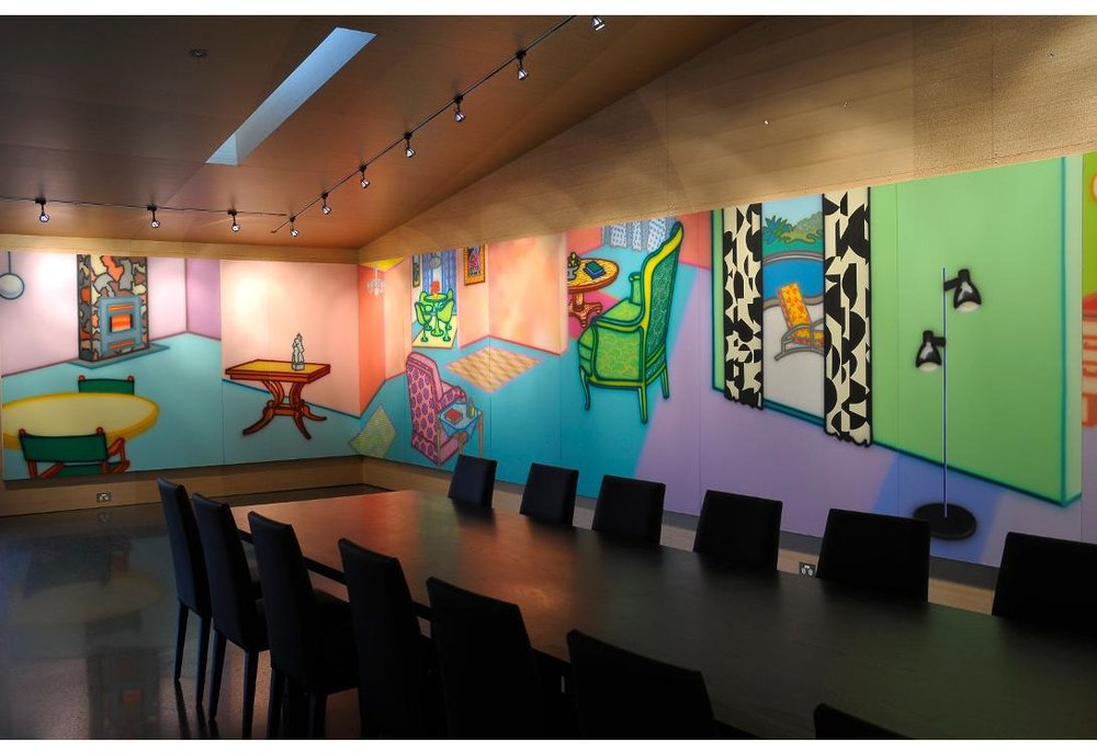 Above : Howard Arkley,  Fabricated Rooms , 1997 -1999, Acrylic on Canvas, 17 panels, overall 203 x 1930cm.