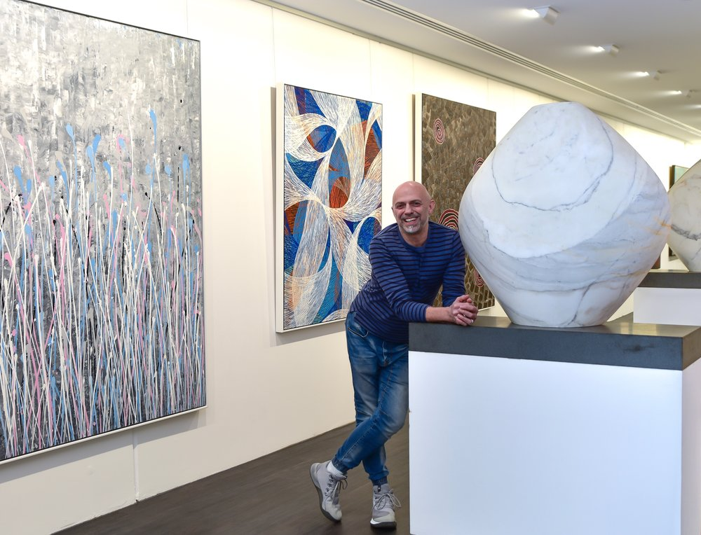 Gallery director & Abstract Expressionist painter, Thierry B. in his eponymously named gallery in South Yarra, Australia.