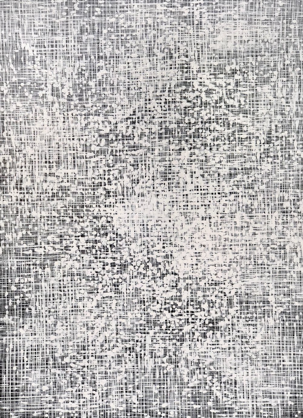 Above: Wilson Lin,  A Glimmering Sheet,  2018, Fractal series, Synthetic Polymer Paint on Linen, 122 x 91.5cm, $5,500
