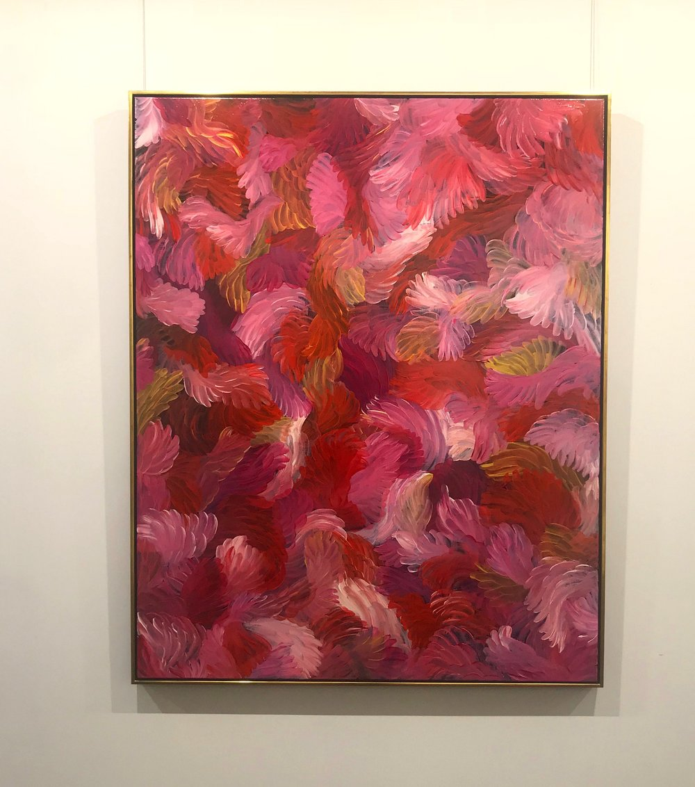 Above: Thierry B.  La Vie En Rose , 2018, Synthetic Polymer Paint on Linen, 152 x 122cm, custom-framed in water-gilded,18-carat gold, $15,000
