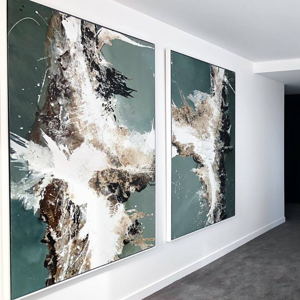 Above: Michael Whitehead, diptych,  Outcrop & Plateau , 2018, Mixed Media on Linen, 180 x 140cm, Corporate collection, South Yarra, Australia.