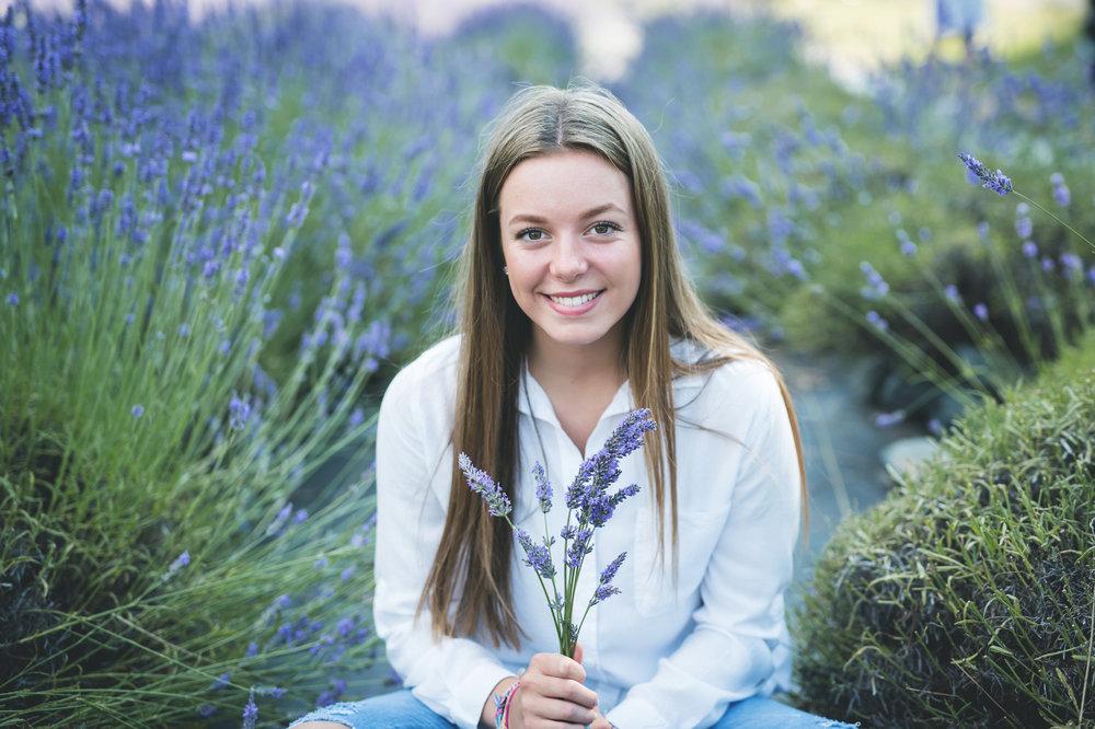 kristin grover images senior model team. lavender fields. Holding lavender. Sarah.
