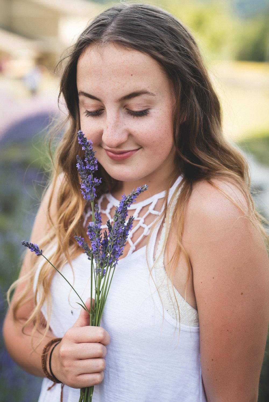 kristin grover images, snofalls lavender, fall city washington, ana high school senior photos, smelling lavender