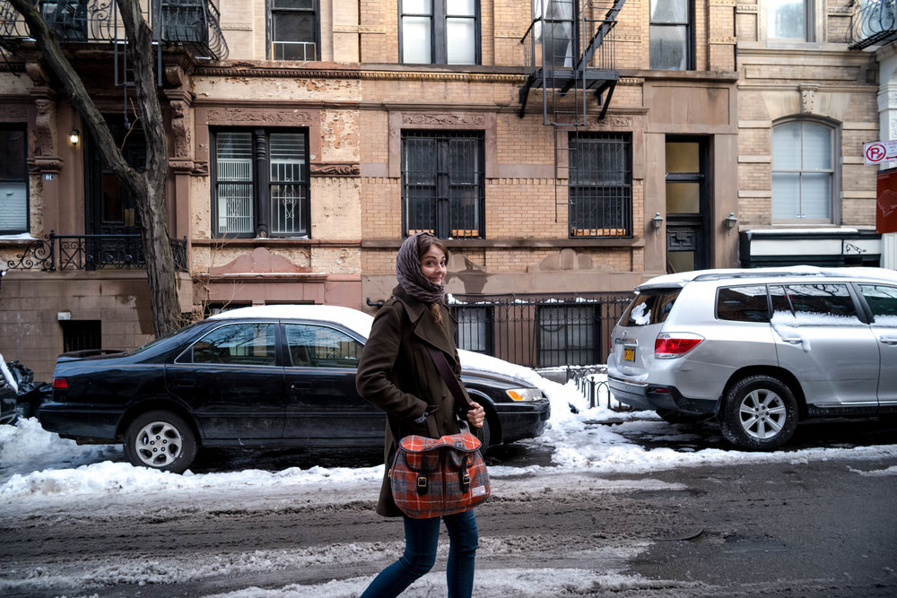 Anna freezing at the West Village. She didn't expect New York to be this cold.