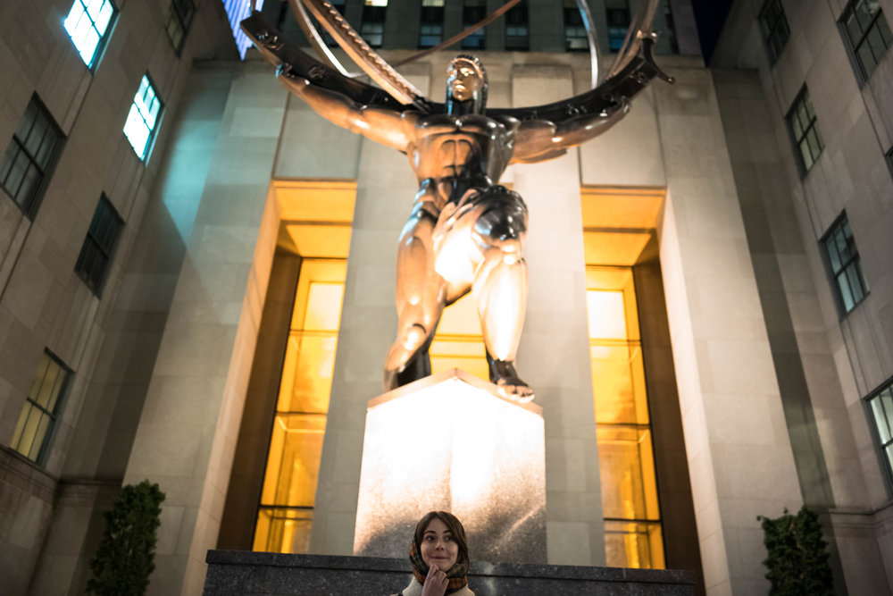 Under the statue of Atlas at Rockefeller Center.
