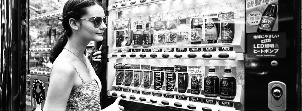 At a vending machine, Ginza - JCH Street Pan 400