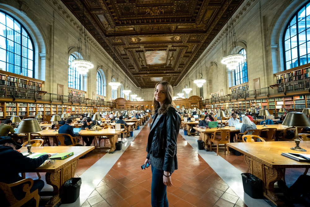 Inside the reading room, at the New York City Public Library.