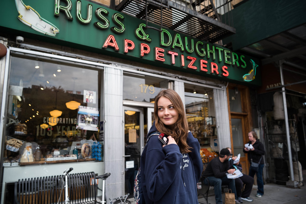 At Russ and Daughters, on the Lower East Side. This is where I used to get all my smoked fish.