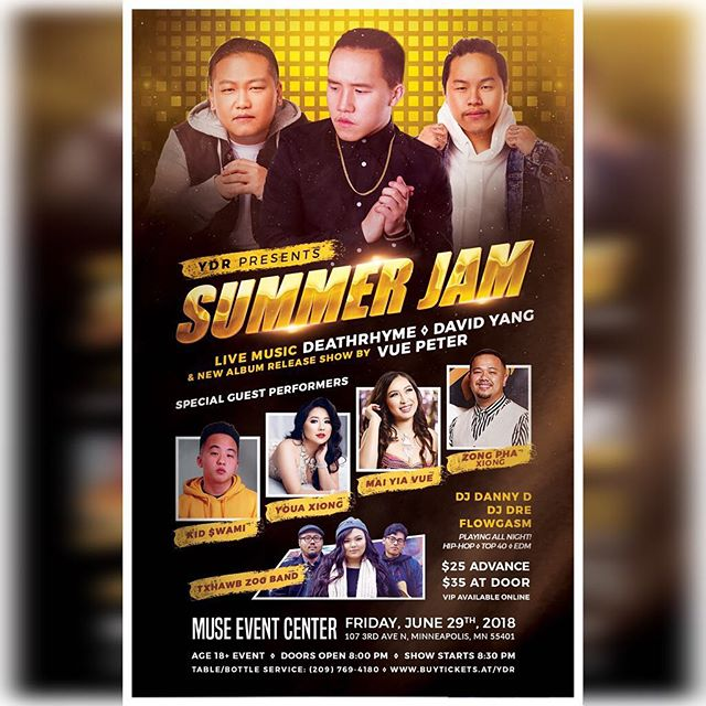 The Official YDR Summer Jam. June 29th, 2018. Muse Event Center in Minneapolis, MN. Tickets on sale @ buytickets.at/ydr #ydrsummerjam