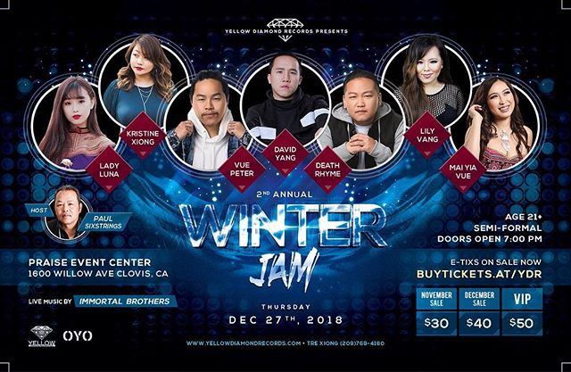 Fresno, CA - We are excited to announce our line up this year for our 2nd Annual Winter Jam. For the first time ever in California, we have live music by Immortal Brothers playing for our Artists. This is the concert you want to experience. . Tickets available now: buytickets.at/ydr