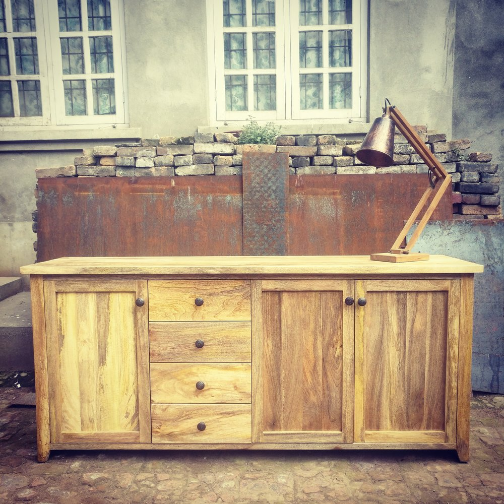 Cabinet in Mango wood with steel handles