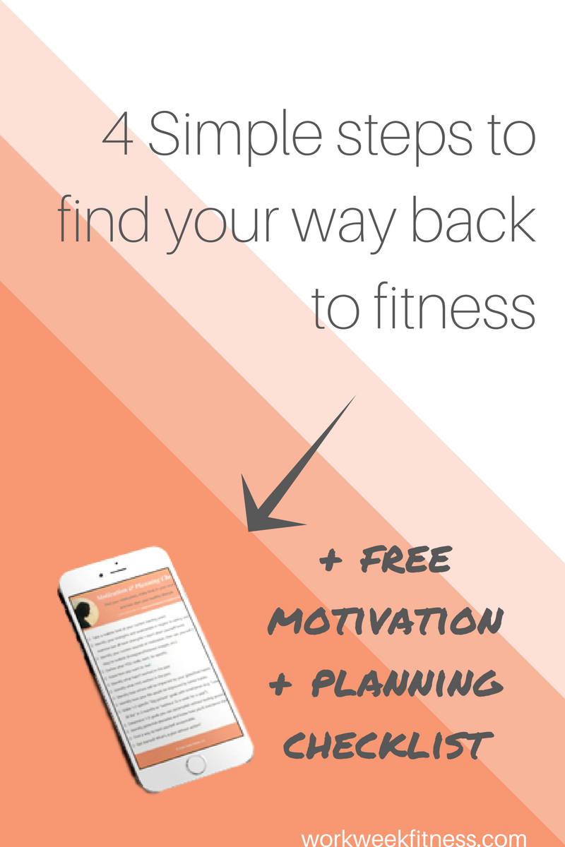 Ready to start working out again but no idea where to start? Click to read  the 4 simple ways to get back to fitness. Plus, grab the free checklist after you click for the full post.