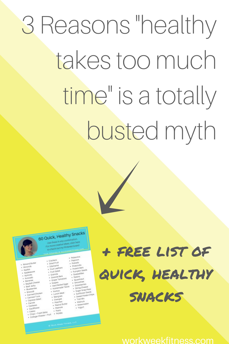 If you're putting off making healthy changes because you think it's too time consuming, think again! Here are 3 reasons that's a totally busted myth! Click to read the full post, plus snag a free list of easy healthy snacks you can eat on the go