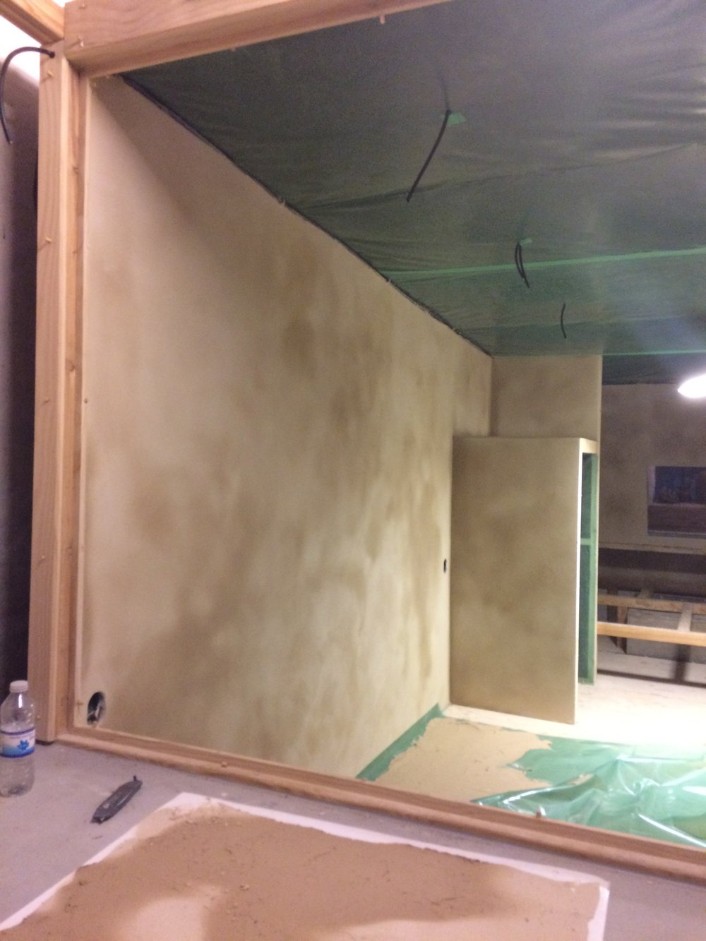The clay plastered walls are slowly drying up