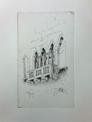 Hard ground etching of Venetian windows