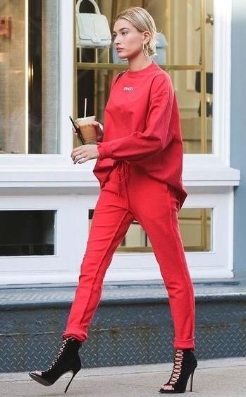 ltrc2z-l-610x610-pants-sweatshirt-sweatpants-red-red+pants-hailey+baldwin-booties-model+duty-streetstyle-sweater.jpg