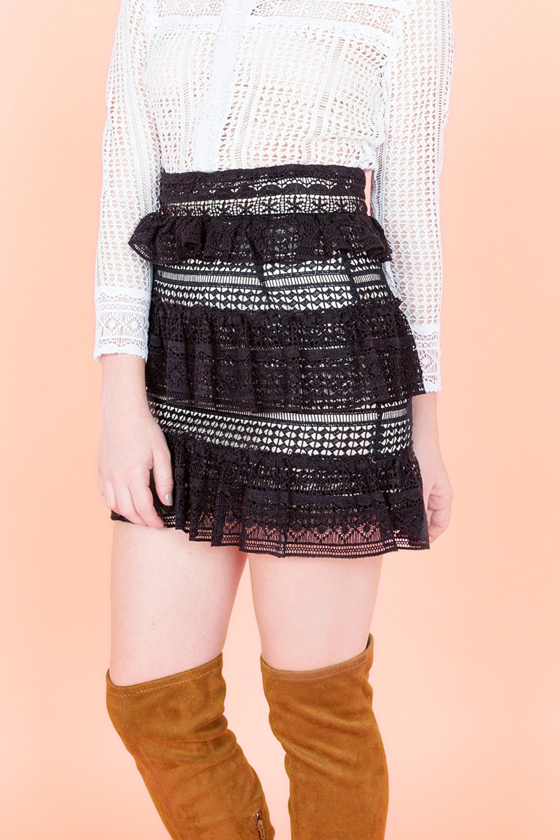Lace Frill Skirt Black - Go online store→
