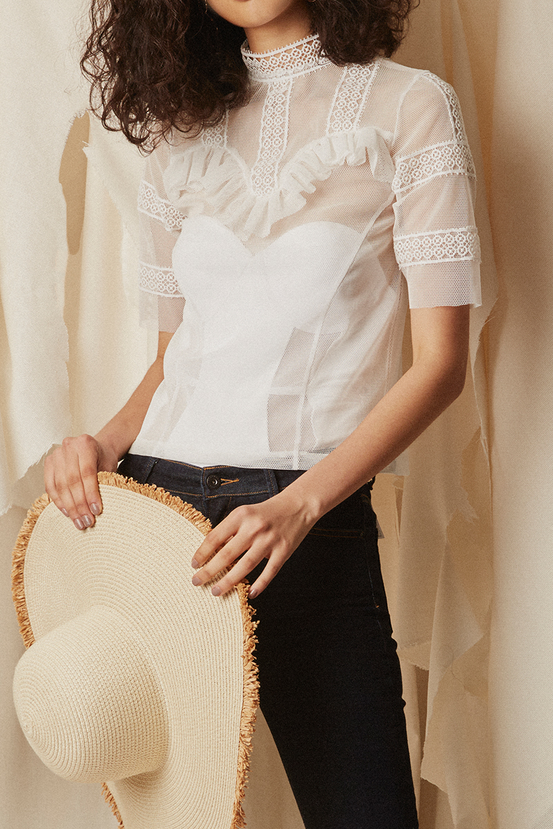 Frill Mesh Blouse White - SOLD OUT