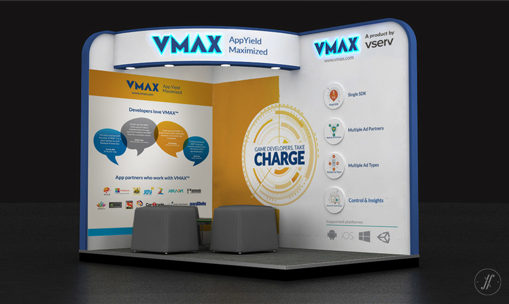 Yellow Fishes Branding Agency In Mumbai & Singapore VMAX Technology Branding Visual Brand Language Design - 3d stall design for exhibition