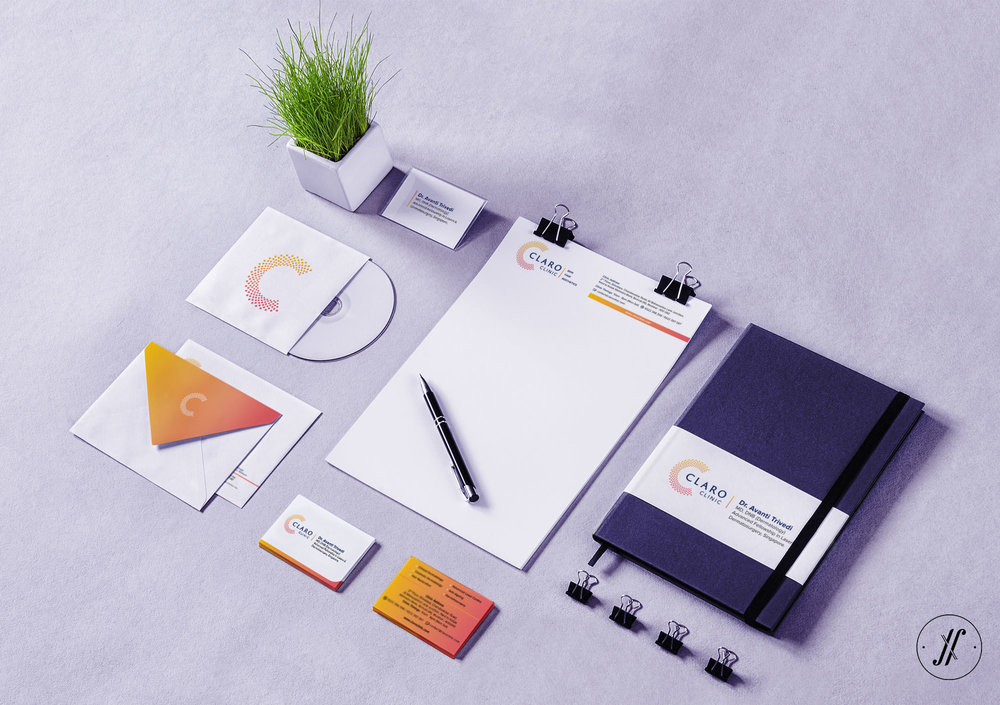 Yellow Fishes One of the best Branding Agencies in Mumbai Brand Identity Design Stationery Design Claro Clinic