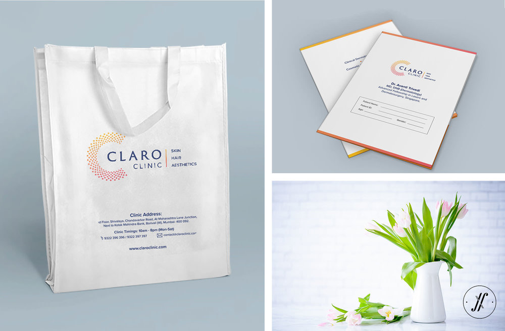 Yellow Fishes Claro Clinic Brand Identity Design Bag Design Stationery Design Branding Firm Mumbai India