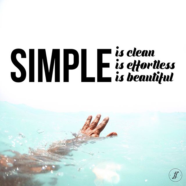 Simple is clean. Simple is effortless. Simple is beautiful. #simple