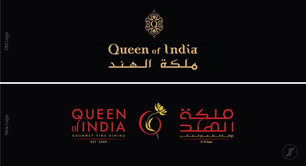 Yellow Fishes Branding Agency In Mumbai Queen of India Restaurant Branding design firm Saudi Arabia restaurant Branding facade design logo design new logo