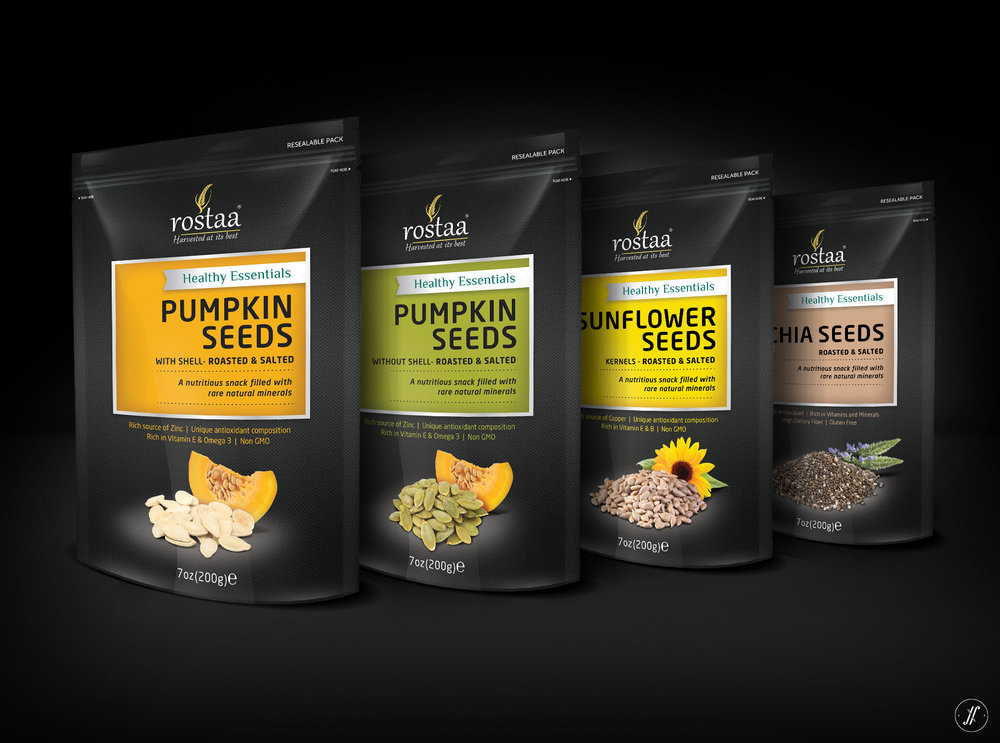 Rostaa packaging design yellow fishes branding agency mumbai india singapore packaaging design for seeds pummpkin seed packaging sunflower seed packaging chia seed packaging design agency firm.jpeg