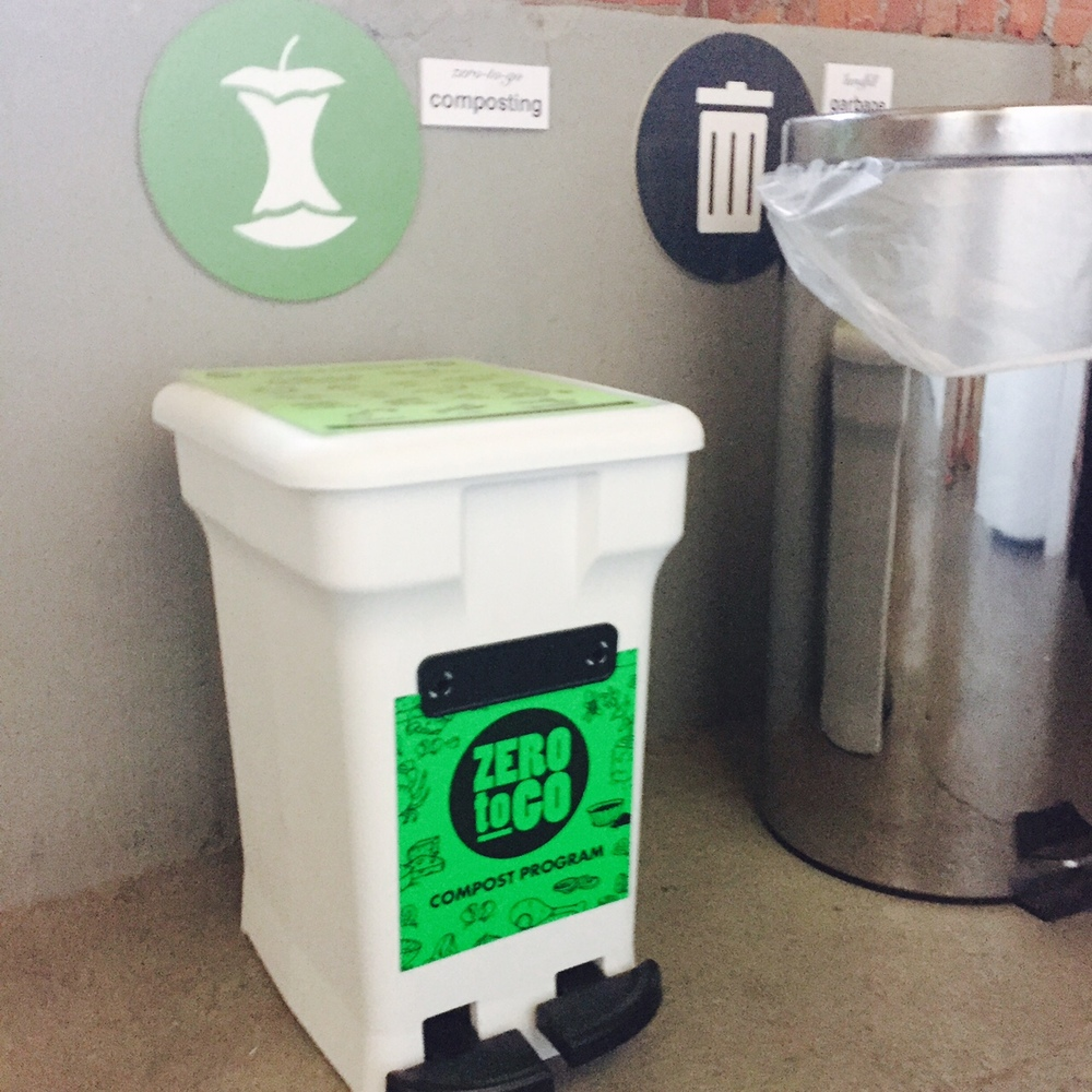 Food composting from  Zero to Go  is available in the basement. Deborah is one of this program's first customers. One can even compost paper towels!