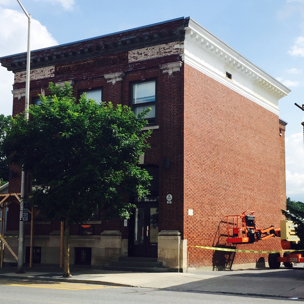 Restoration work to The Telephone Building begins, from building owner, Deborah Bigelow of Gilded Twig.