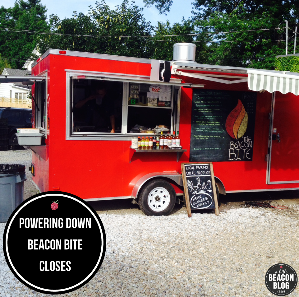 The Beacon Bite food truck, known for its bright red color and creative fancy food.