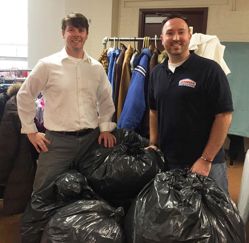 Jordan Garrand and Bryn Morgan organizing some of last year's donations