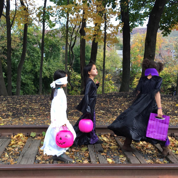Some serious witches and ghosts stroll down the dead tracks on Beacon's West End of town, near the mountain along the Fishkill Creek (near The Roundhouse Patio). Image by @cappyhotchkiss