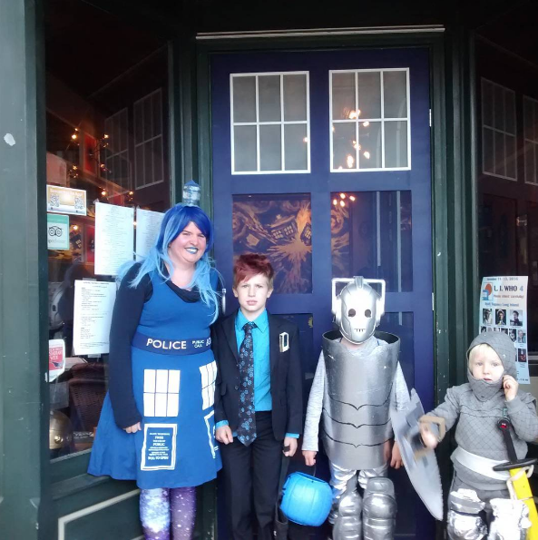 Dr. Who fans immediately recognize this costume, outside of The Pandorica Restaurant on Beacon's East End of town (near Play). Image by @thepandoricarestaurant