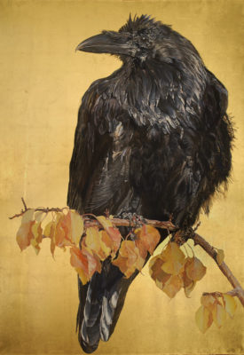 wendy lindbergh's  autumn raven , oil and gold leaf, at theo ganz studio