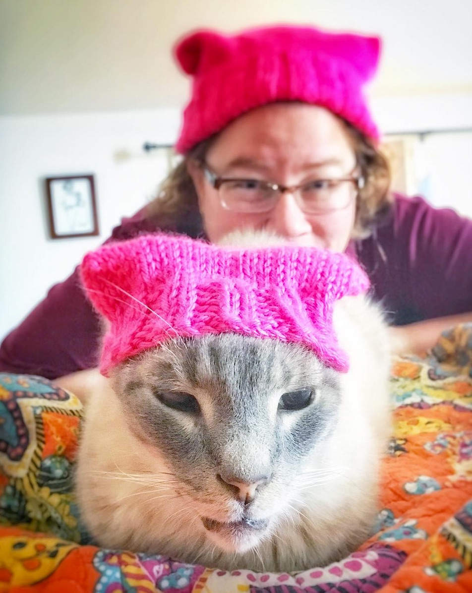 Eddie the Lilac Lion modeling a special #pussyhatproject hat. Photo Credit:  Eddie the Lilac Lion