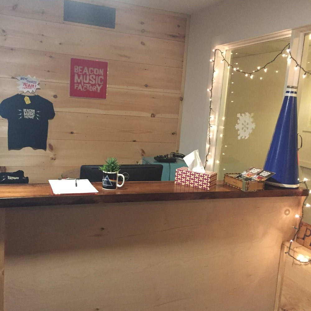 The welcome desk at Beacon Music Factory. Photo Credit: Katie Hellmuth Martin